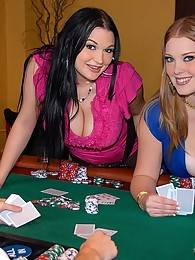 2 hot ass big tits babes cassandra and sierra share a hard cock on the poker table in these hot double cumshot 3some vids