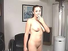 European girl masturbates cunt using large dildo