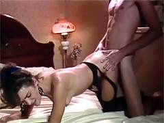 Sexy retro lady in stockings enjoys a cock inside her slit